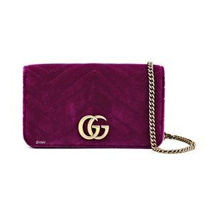 Gucci Mini Marmont Gg 2.0 Matelassé Fuschia Velvet